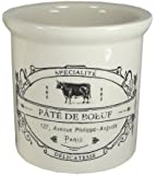 "Stoneware Crocks with French Vintage Reproduction Labels-4 3/4"" H (Pate de Boeuf)"
