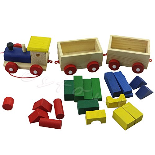 [Fun Kids Baby Developmental Toys Toddler Wooden Train Truck Set Geometric Blocks] (Assassins Creed Costume For Kids At Party City)