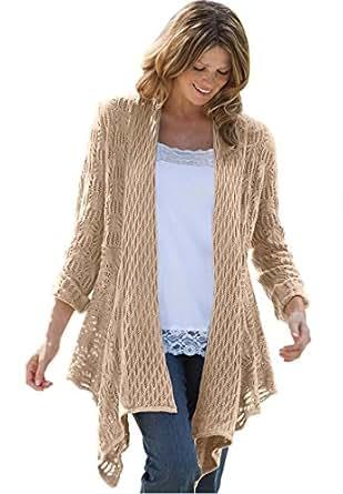Women's Plus Size Sweater, Open Front Cardigan (New Khaki,1X)