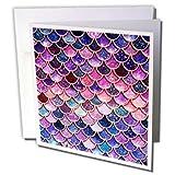 3dRose Uta Naumann Faux Glitter Pattern - Image of Sparkling Pink Purple Luxury Elegant Mermaid Scales Glitter - 6 Greeting Cards with envelopes (gc_275448_1) (Tamaño: Set of 6 Greeting Cards)