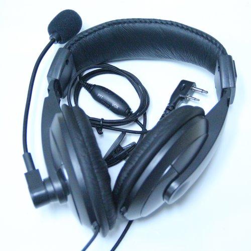 Professional Noise Cancelling Overhead Headset Earpiece Boom Microphone For 2-Pin Icom Maxon Yaesu Vertex Radio