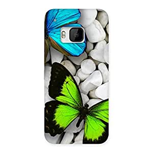 Delighted Butterflies Green Blue Back Case Cover for HTC One M9