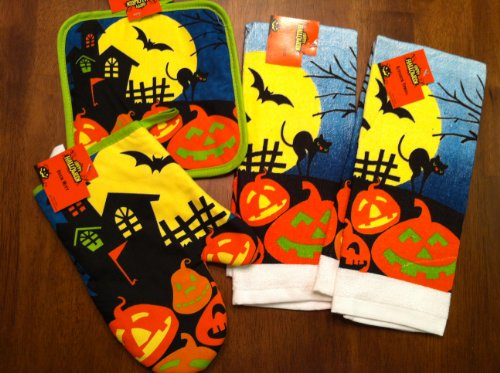 Haunted House/Bat/Black Cat Halloween Kitchen Dish Towels with Pot Holder and Oven Mitt