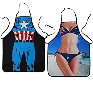 Landisun DC Comic Costume Character Novelty Sexy Funny Kitchen BBQ Cooking Apron (Captain America+Flag Bikini)