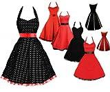 Elizabeth Stone Rockabilly kleid 50s Polka Dot Schwarz petticoat kleid Neckholder kleid Abendkleid Cocktail Kleid