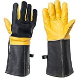 DEFENCES Scratch/Bite Resistant Gloves Gauntlet For Dog Cat Bird Snake Reptile Grooming,15 Inch Leather Work Gloves Kevlar Stitching, Perfect for BBQ, Stove, Welding, Animal Handling Gloves Bite Proof (Color: Black&yellow, Tamaño: Large)