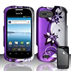 ZTE VALET Z665C FURY N850 PURPLE SILVER FLOWER VINE COVER SNAP ON HARD CASE + FREE SCREEN PROTECTOR from [ACCESSORY ARENA]