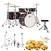 Gretsch CM1-E826P-SDCB Catalina Maple Satin Dark Cherry Burst 7-Pc Shell Pack w/ Hardware, Throne, Cymbals, ChromaCast 5A Drumsticks and GoDpsMusic Polish Cloth