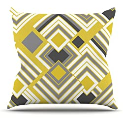 "Kess InHouse Jacqueline Milton ""Luca-Gold"" Yellow Gray Outdoor Throw Pillow, 16 by 16-Inch"