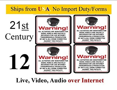 SECURITY DECAL -8 Pack VAS #145 MINI DOME 21ST Century Live Internet AUDIO/ VIDEO Commercial Security, Surveillance CCTV Warning! Deterrence Decals