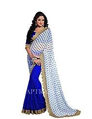 Blue Party Wear Saree Embroidery Indian Wedding Sari