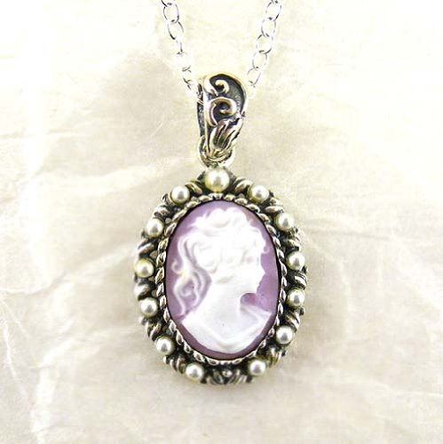 Pearls and Lavender Cameo Necklace