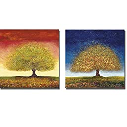 Dreaming Tree Red & Blue by Melissa Graves-Brown 2-pc Premium Gallery-Wrapped Canvas Giclee Art Set (Ready-to-Hang)