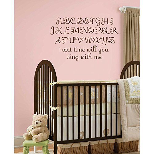 Removable, Alphabet Script Wall Decals in Espresso, (87-Pieces) (Espresso Wall Letters compare prices)