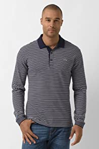 Long Sleeve Stripe Double Face Pique Jersey Polo
