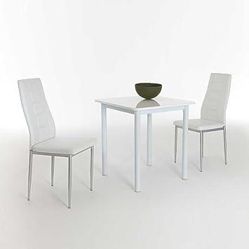 Sitzgruppe fur Kuche Weiß Hochglanz (3-teilig) Pharao24