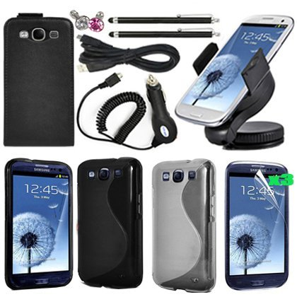 Poposh 13 in 1 Accessory Bundle Set Kit For Samsung Galaxy S3 i9300 Megapack Black Leather Slim Flip Case Cover - Car Charger Mount Holder Kit Cradle - Screen Protector - Stylus Touch Pen - Diamond Bling Crystal Anti Dust Plug Jack - 360° Car Stand Stander Windshield Mount Holder - USB Cable - S-Line TPU White Silicone Back Case Cover