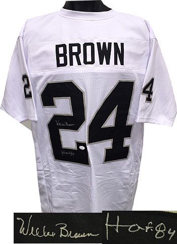 Willie Brown signed Oakland Raiders White Prostyle Jersey HOF 84 XL- JSA Hologram