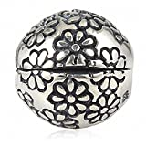 Flower Clip Charms Authentic 925 Sterling Silver Lock Stopper Beads Charm for Charms Bracelets (B)