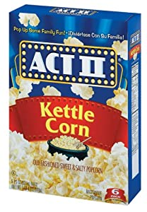 ACT II Popcorn, Kettle Corn, Old Fashioned Sweet and Salty, 6-Count, 2.75-Ounce Bags,  (Pack of 6)