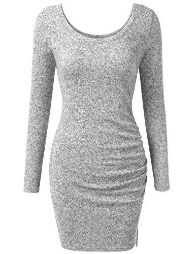 J.TOMSON Women's Slim Fit Triblend Long Sleeve Scoop Neck Side Ruched Dress HGREY M