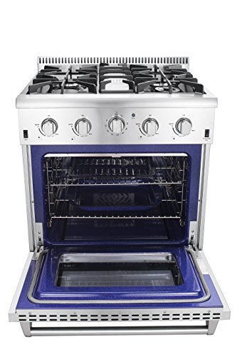 Thor-Kitchen-HRG3080U-30-Freestanding-Professional-Style-Gas-Range-with-42-cu-ft-Oven-4-Burners-Convection-Fan-Cast-Iron-Grates-and-Blue-Porcelain-Oven-Interior-in-Stainless-Steel
