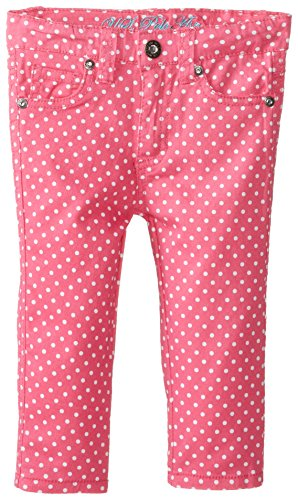 U.S. Polo Assn. Little Girls' Cropped Polka Dot Twill Jean, Totally Pink, 3T