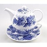 Fine English Bone China Tea for One - Teapot and Cup Set - English Chintz - Blue Rose - Roy Kirkham, England
