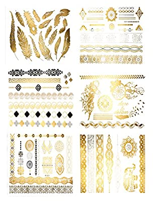 Premium Metallic Tattoos - 75+ Gold, Silver, Black Shimmer Designs. Temporary Fake Jewelry Tattoos By Terra Tattoos™ (Harmony Collection)