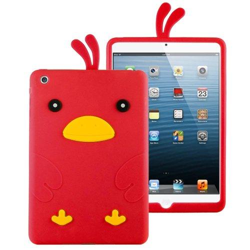 Hhi Silicone Skin Case For Ipad Mini 3, Ipad Mini Retina Display And Ipad Mini - Red Funky Duck (Package Include A Handhelditems Sketch Stylus Pen)
