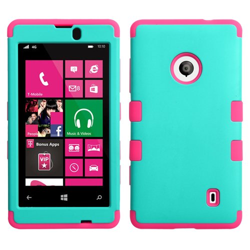 For Nokia Lumia 520 Tuff Case Hybrid 3-Layer Combo Phone Cover Rugged Protector Soft Skin Hard Case + (Phonelicious)Tm Stylus (Teal / Pink Tuff)
