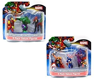 "Marvel Avengers Exclusive 4"" Action Figure Set of 6 / Includes: Thor , Captain America , Iron Man , Hulk , Black Widow & Hawkeye"
