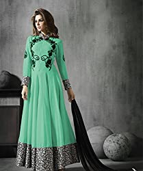 Light Green Georgette Embroidered Anarkali Suits By Kmozi