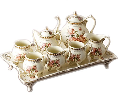 ufengke®8 Piece Creative European England Luxury Hand Painted Red And Gold Flower Ivory Porcelain Ceramic Coffee Set Tea Set Tea Service (Porcelain Service For 12 compare prices)