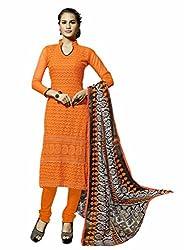 Suchi Fashion Embroidered Orange Georgette Dress Material