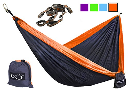 Double Camping Hammocks - Made From Strong and Lightweight Parachute Weather Resistant Nylon- Hammocks Include Stretch Resistant Tree Straps - Perfect for Travel or Hiking- Orange Outside (Hammock Outdoor compare prices)