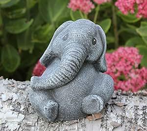 Steinfigur Elefant klein Steinguss Schiefergrau