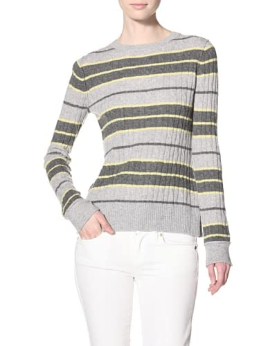 Autumn Cashmere Women's Varsity Stripe Sweater with Elbow Patches