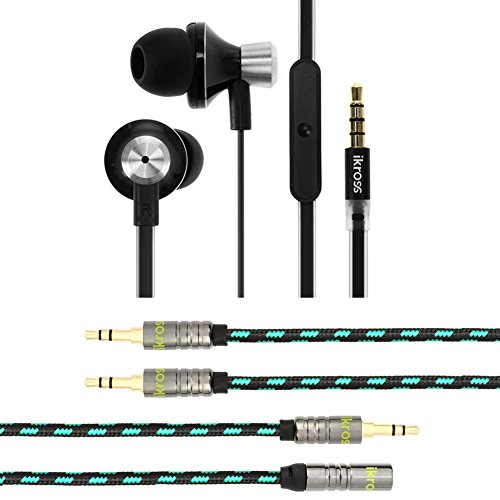 Ikross 3Pc Essential 3.5Mm Audio Headphone / Cable Bundle Kit For Iphone, Ipod, Ipad, Samsung, Google, Lg, Sony Phone & Tablet ( In-Ear Headset W/ Mic + 3.5Mm Male/Male Stereo Audio Aux Cable + Male/Female Stereo Audio Extension Cable)