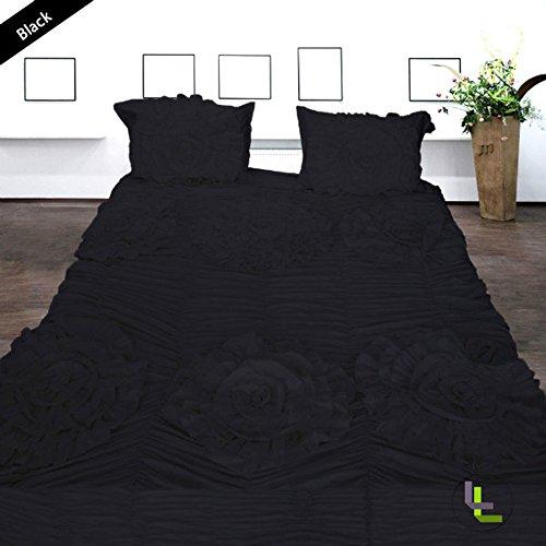 600TC 100% cotone egiziano, finitura elegante Set copripiumino, motivo floreale, confezione da 3, con coperchio, Cotone, Black Solid, EU_Single