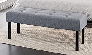 Zinus Memory Foam Tufted Upholstered Bed Bench