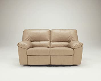 Neutral Bonded Leather Match Power Reclining Loveseat