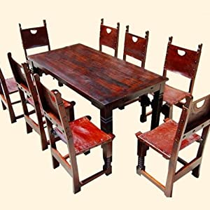 9 PC Rustic Solid Wood Dining Table And Chair Set W Extension Ho