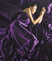 Luxury Double Bed Satin Silk Purple,Plum 6 Piece Bedding Set Duvet Cover,Fitted Sheet+4 Pillow Cases
