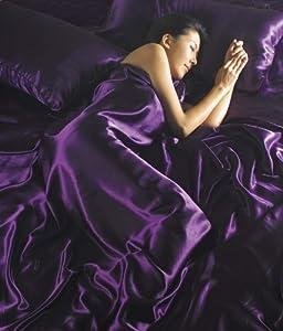 Satin Aubergine, Plum, Purple Plain Single Bed 4 Pce Duvet Cover, Fitted Sheet & 2 Pillowcases