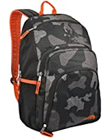 MyGift 18 inch Outdoor Hiking Backpack / Student School Book Bag - Gray Camouflage w/ Orange
