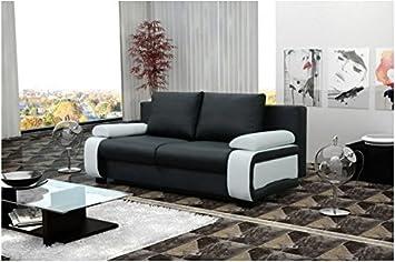 Canapé 3 places convertible MILANO noir et blanc simili cuir