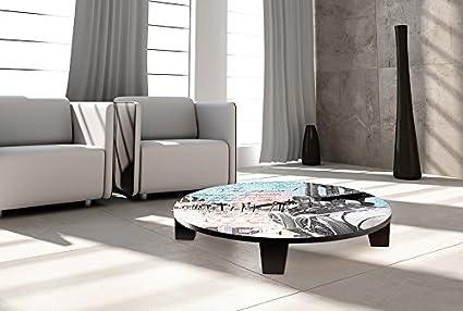 "TAF DECOR ""Trailblazer"" Art Coffee Table, 35"" X 35"" X 7.5"", Multicolored"