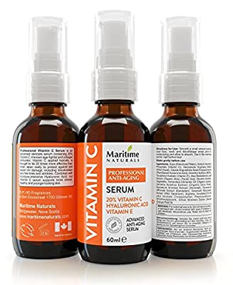 60ML Professional strength 20% VITAMIN C SERUM With Hyaluronic Acid & Vitamin E moisturizer - Certified Organic Vegan Face serum - Anti-Aging, Anti-Wrinkle,Hydrates skin Reduces Age Spots & Dark Circles, Repairs Sun Damage. Repair fine lines