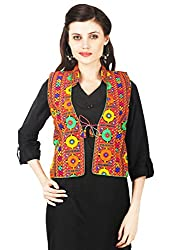 VASTRAA FUSION MULTICOLOURED EMBROIDERED COTTON COLLARED LONG JACKET WITH MATCHING BACK